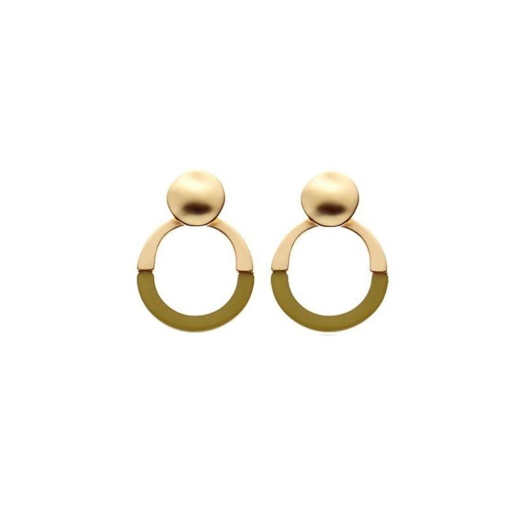 Biba Biba oorbellen 81545 Green Gold Plated