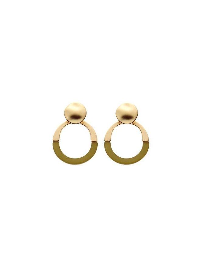 Biba oorbellen 81545 Green Gold Plated