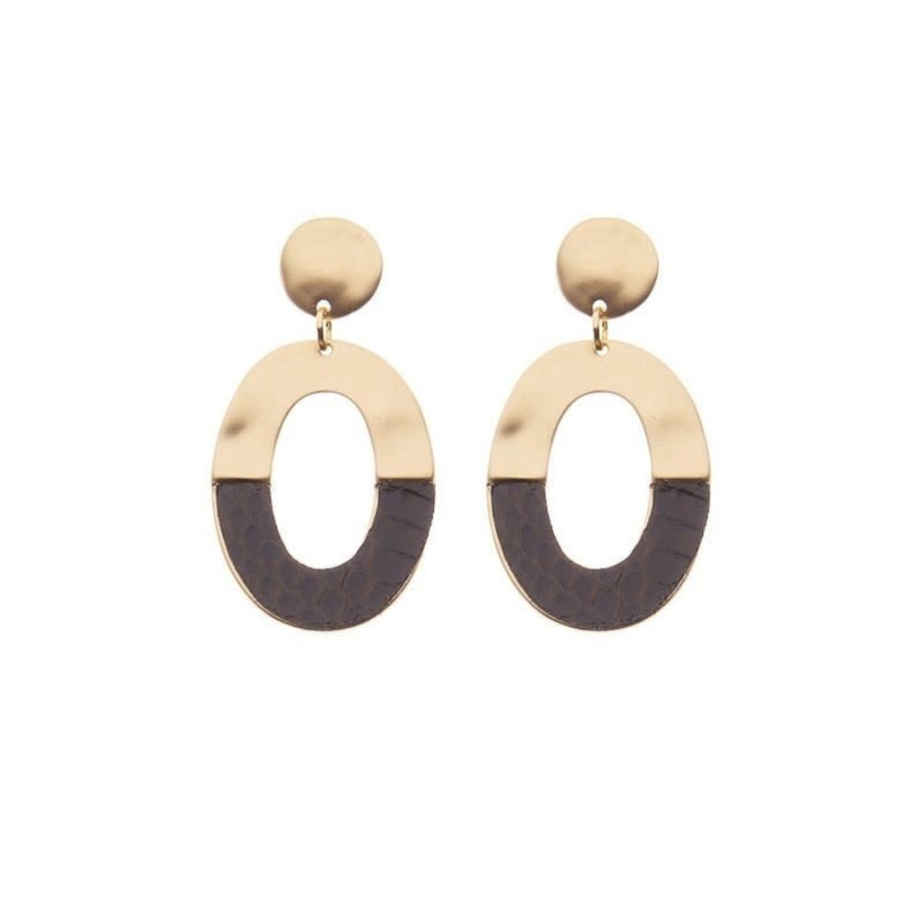 Biba Biba oorbellen 81557 Dark Brown Gold Plated