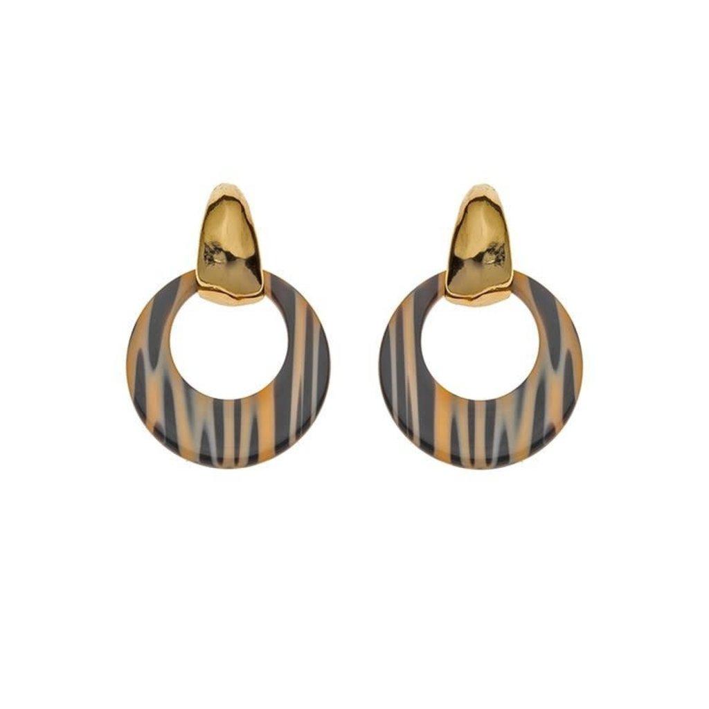 Biba Biba oorbellen 81567 Beige Stripe Gold Plated
