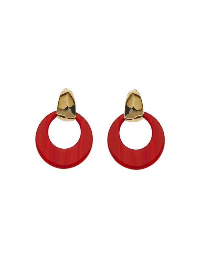 Biba oorbellen 81567 Red Gold Plated