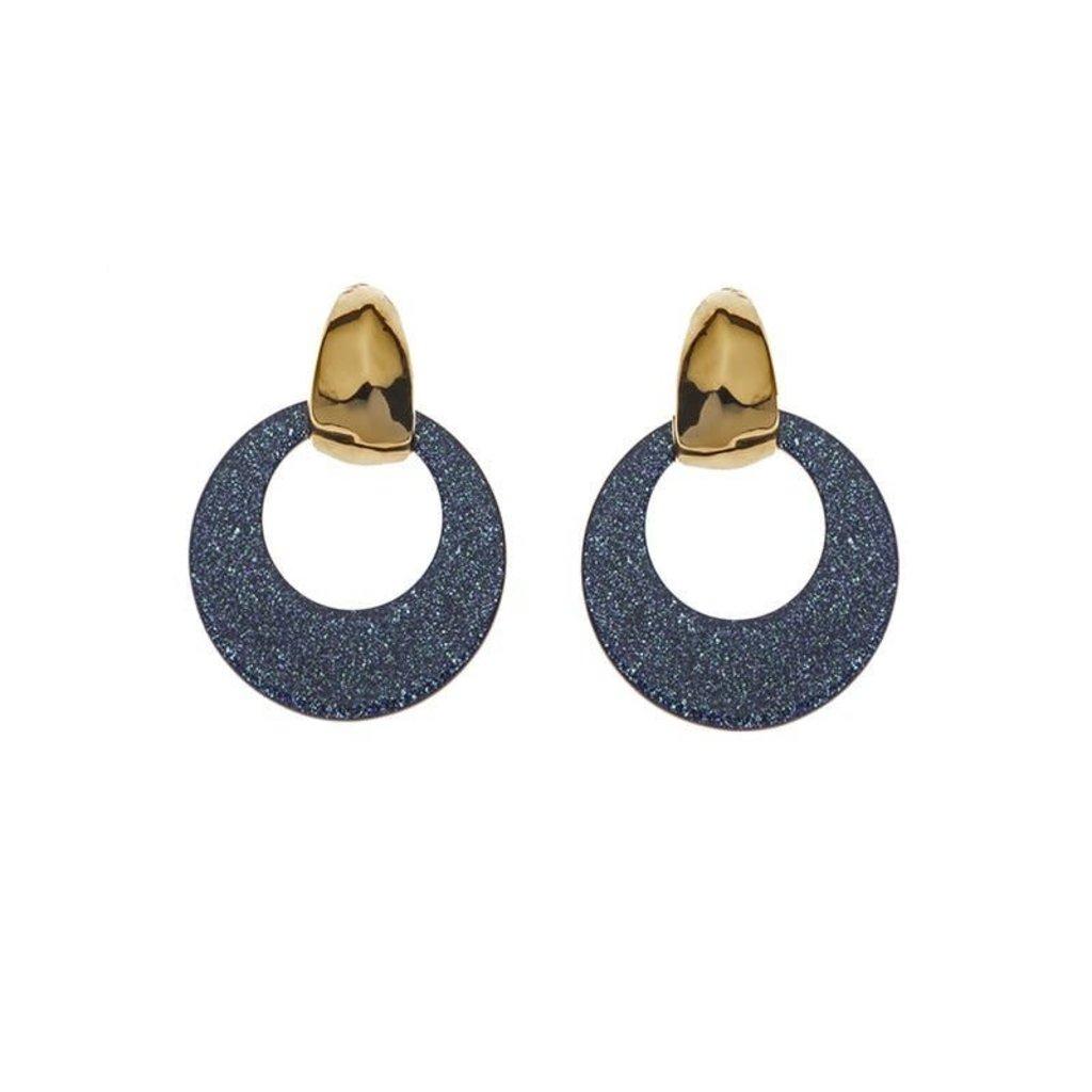 Biba Biba oorbellen 81567 Sparkle Blue Gold Plated
