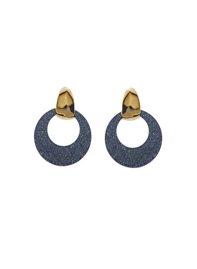 Biba oorbellen 81567 Sparkle Blue Gold Plated