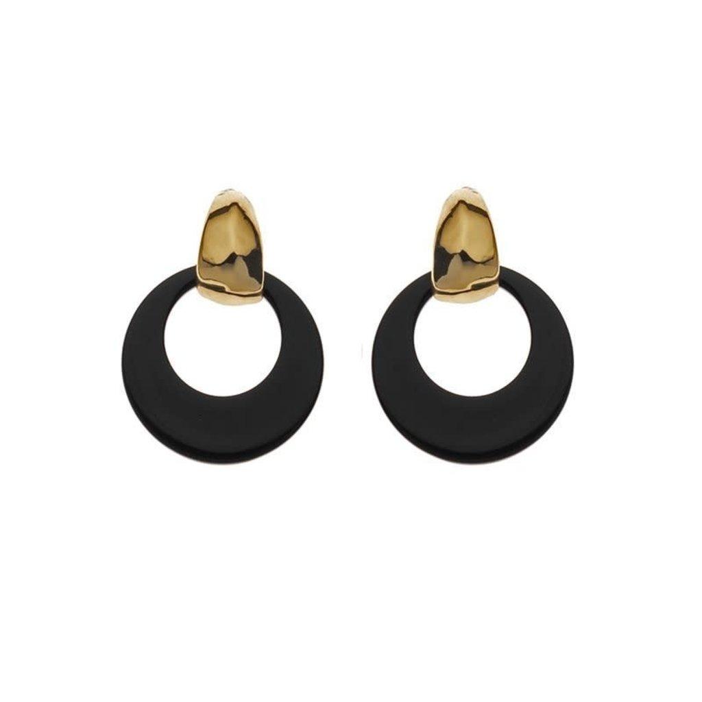 Biba Biba oorbellen 81567 Black Gold Plated
