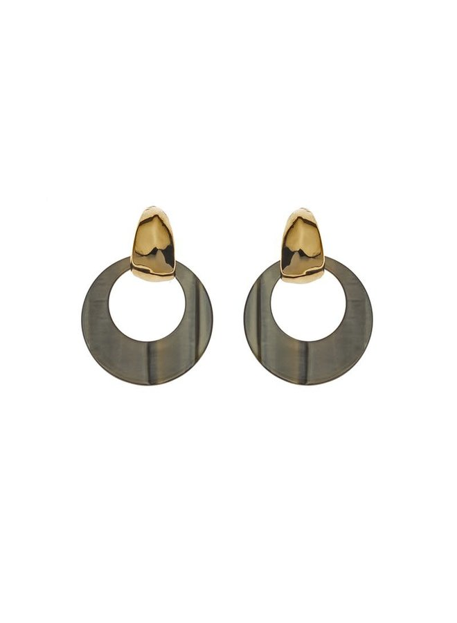 Biba oorbellen 81567 Olive Gold Plated
