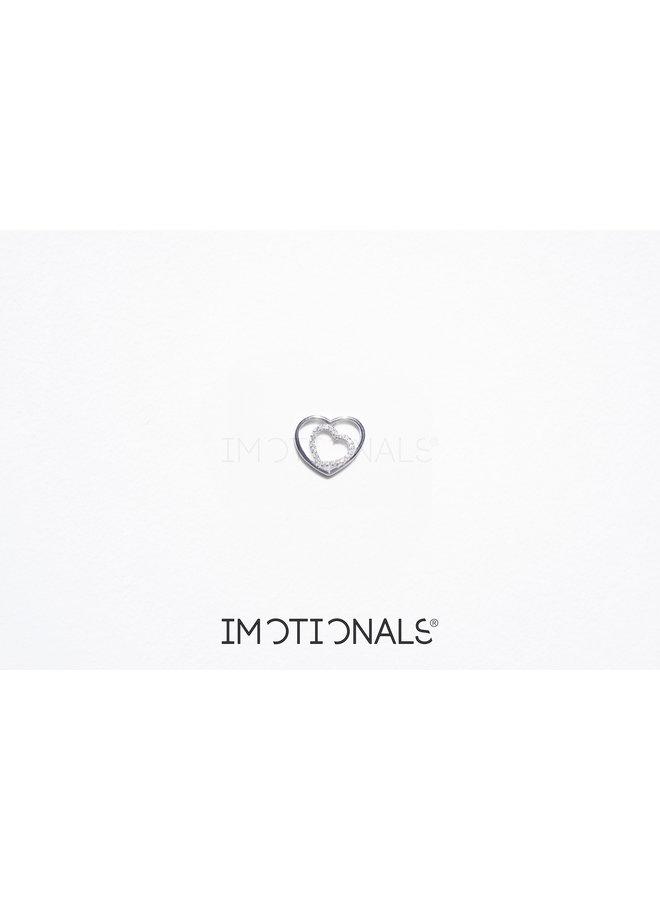 Imotionals Symbol hanger 67 Hart Dubbel Crystal Silver
