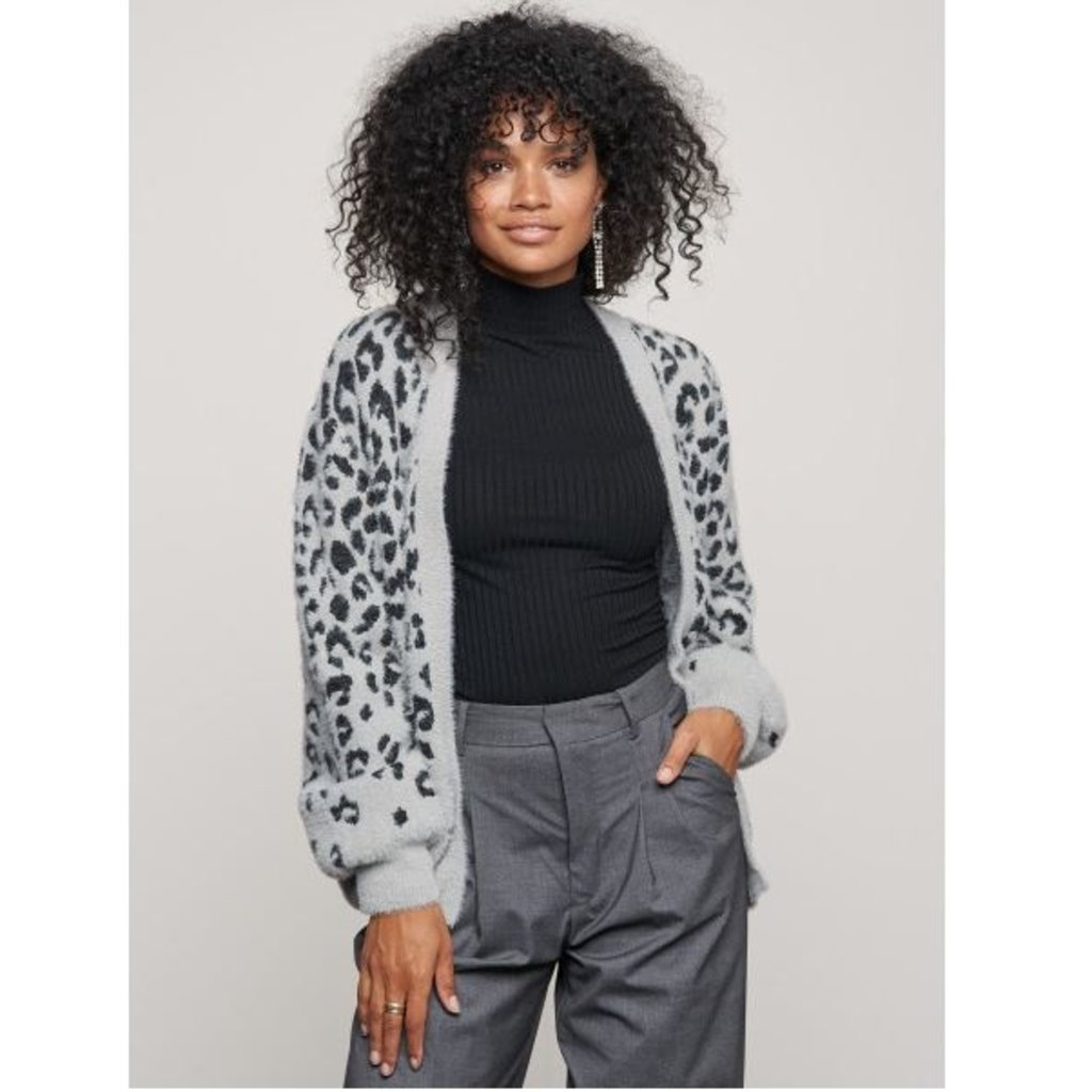 Catwalk Junkie Catwalk Junkie vest Fuzzy Leopard Grey Melange