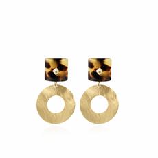 LOTT. Gioielli LOTT. Gioielli oorbellen Resin Rectangle open Hammerd Turtoise Gold