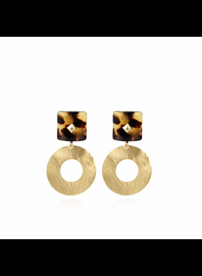 LOTT. Gioielli oorbellen Resin Rectangle open Hammerd Turtoise Gold
