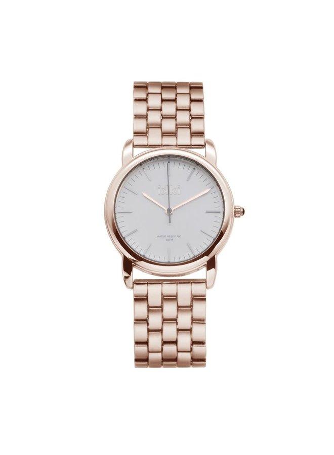 iKKi horloge Levi LV02 Rosé Gold Plated/White