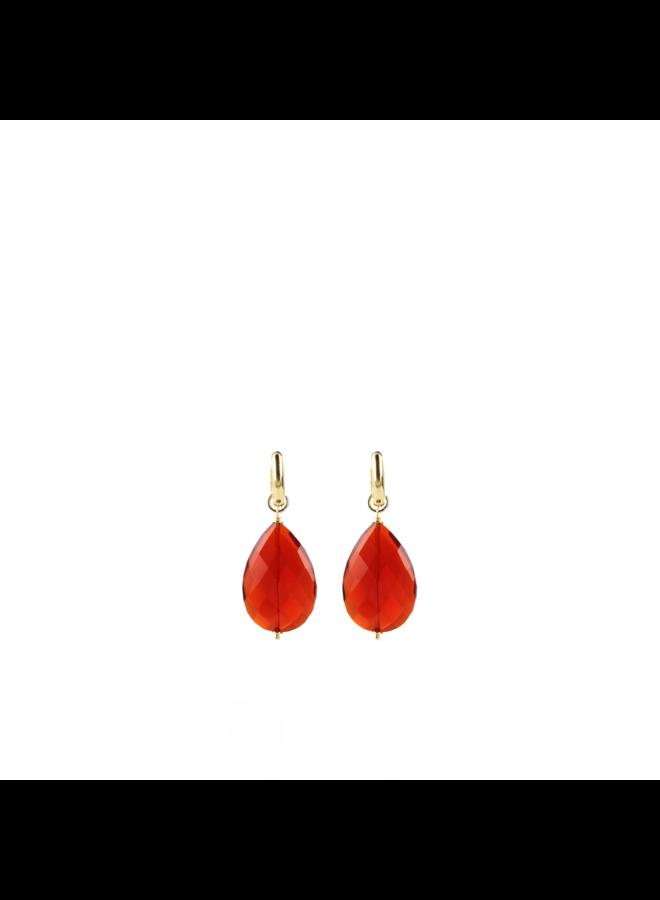 LOTT. Gioielli oorbellen Quartz Drop M Dark Red Gold