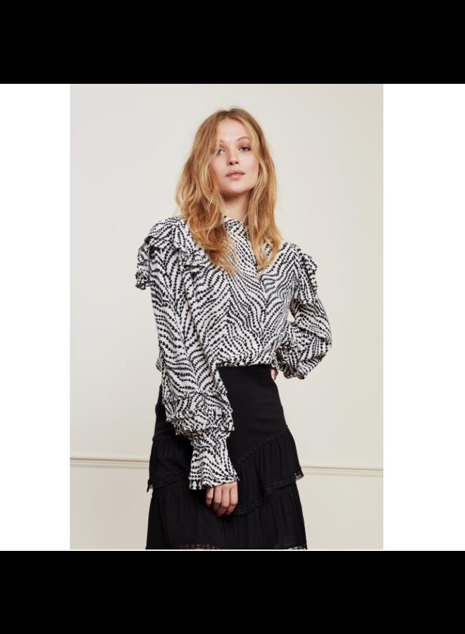 Fabienne Chapot blouse Leo Cream White/Black