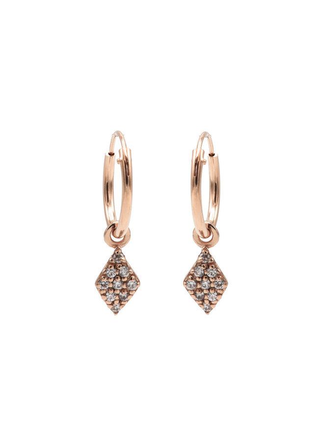 Karma oorbellen Hoops Symbol Zirconia Diamond Rosé Gold Pated