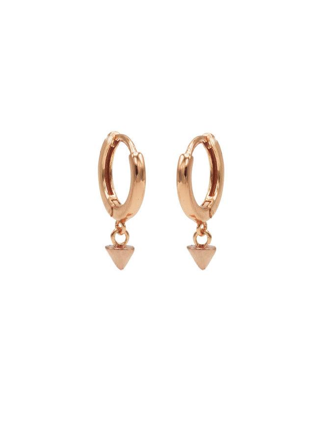 Karma oorbellen Hinged Hoops Symbols Mini Round Cone Rosé Gold Plated