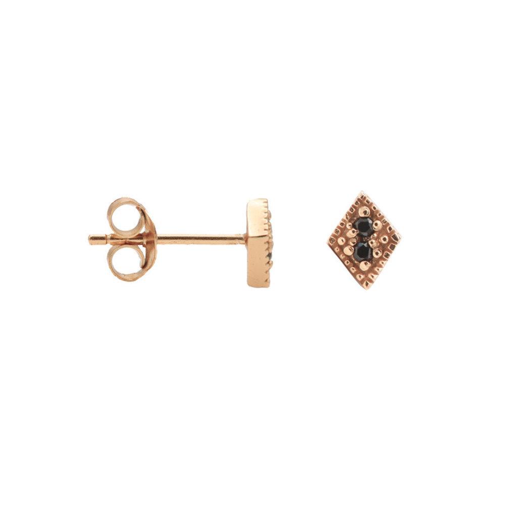 Karma arma oorstekers Black Zirconia Symbols Diamond 2 Rosé Gold Plated