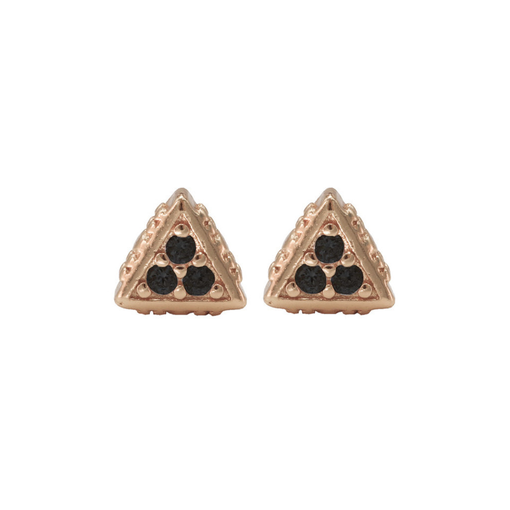 Karma Karma oorstekers Black Zirconia Symbols Triangle Rosé Gold Plated