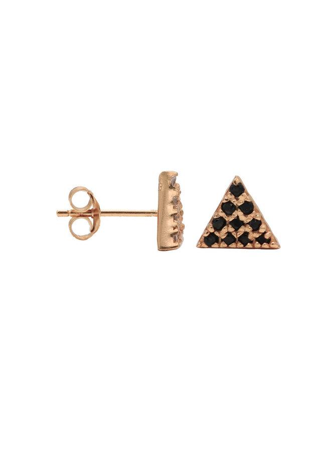 Karma oorstekers Karma Black Zirconia Symbols Triangle 2 Rosé Gold