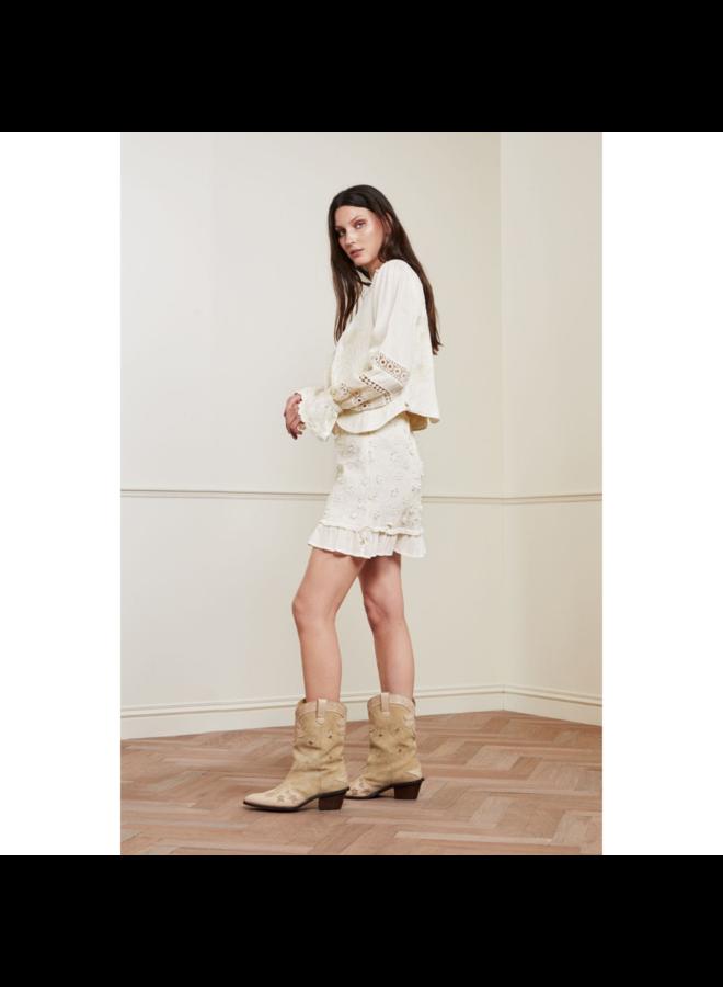 Fabienne Chapot rok Flower Frill Cream White