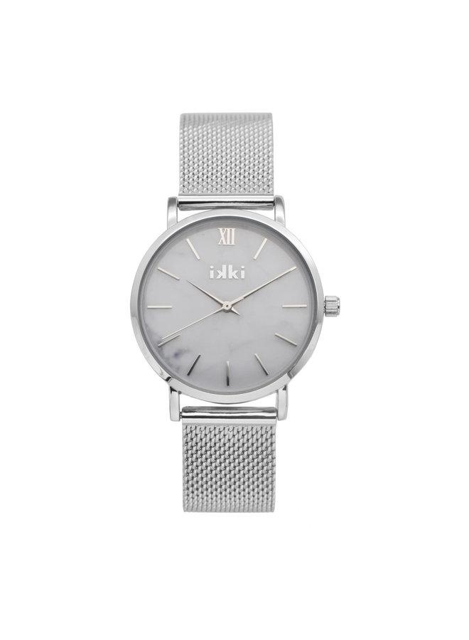 IKKI horloge Morris MS01 Silver White Marble