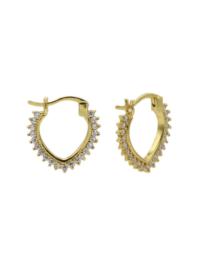 Karma oorbellen Plain Hoops Zirconia V 19mm Goldplated
