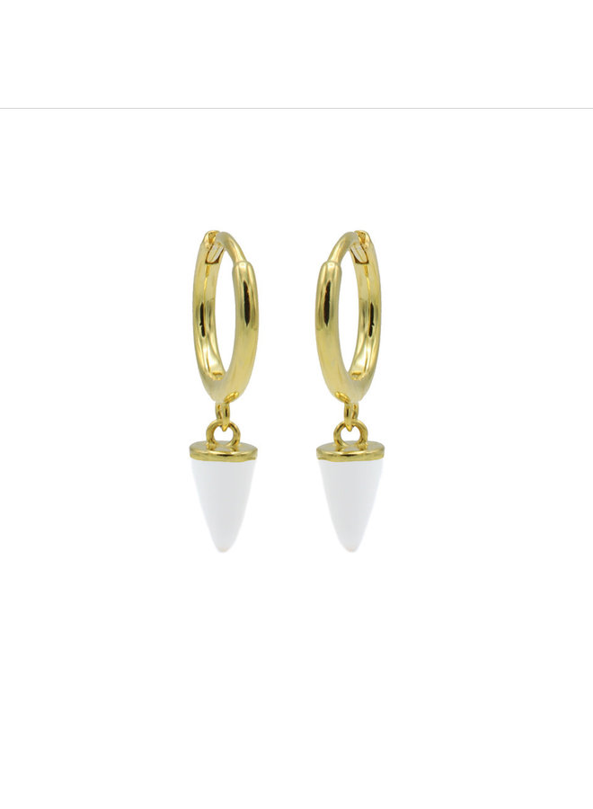 Karma oorbellen Hinged Hoops Emaille Cone White Gold Plated