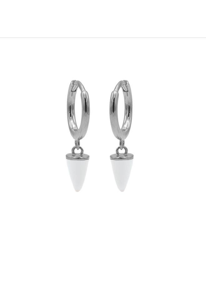 Karma oorbellen Hinged Hoops Emaille Cone White Silver