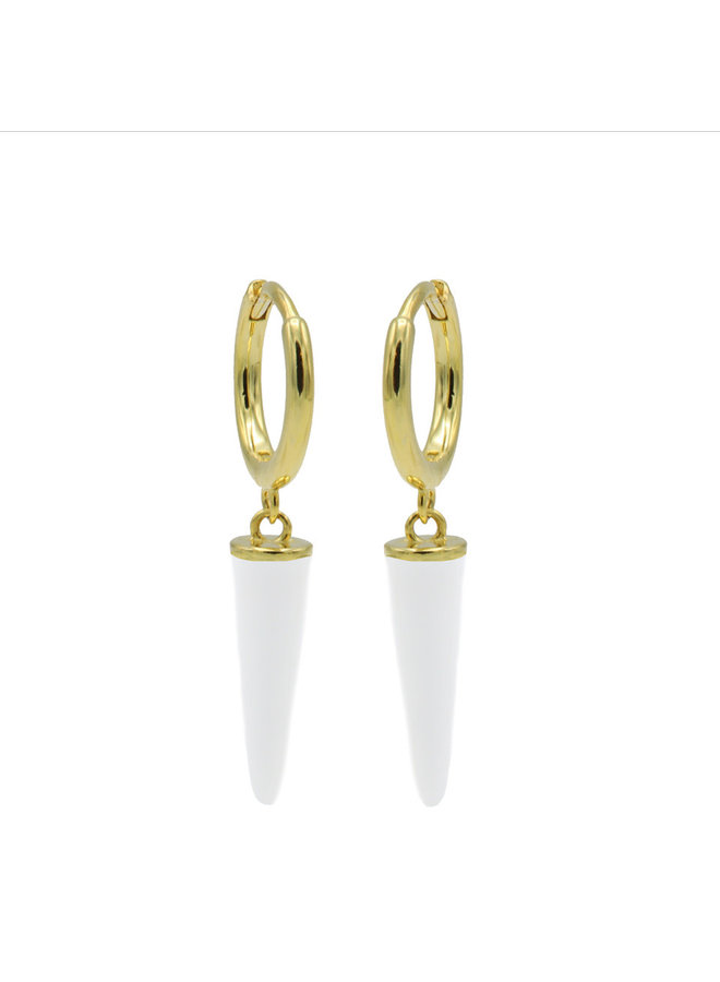 Karma oorbellen Hinged Hoops Emaille Long Cone White Gold Plated