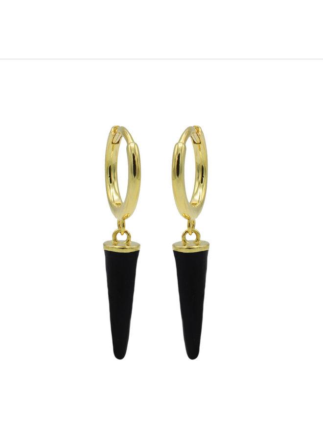 Karma oorbellen Hinged Hoops Emaille Long Cone Black Gold Plated