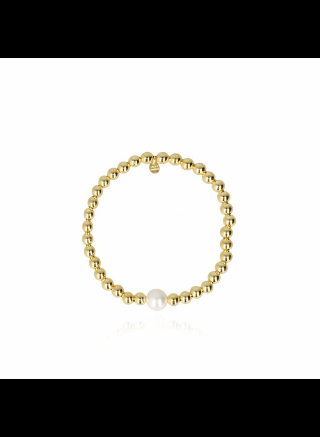 LOTT. Gioielli armband Elastic Pearl 5mm Gold