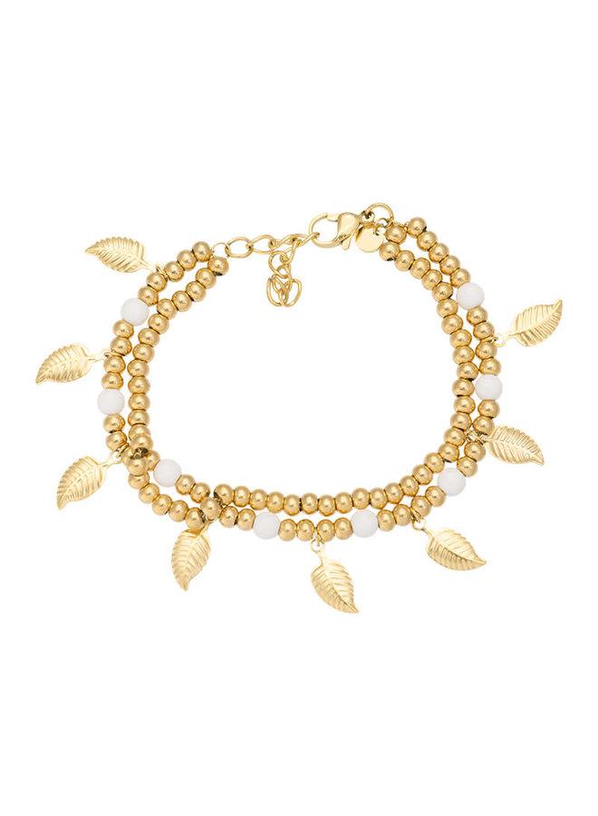 iXXXi enkelbandje Dazzling leaves Gold Plated