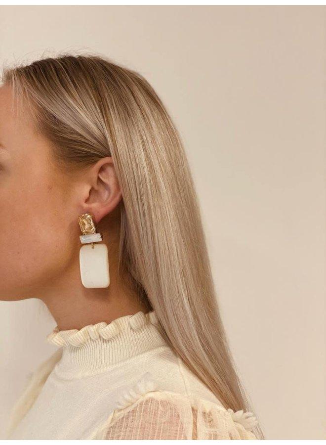 LOTT. Gioielli oorbellen Abigail Rectangle M Opal Beige/Gold Plated
