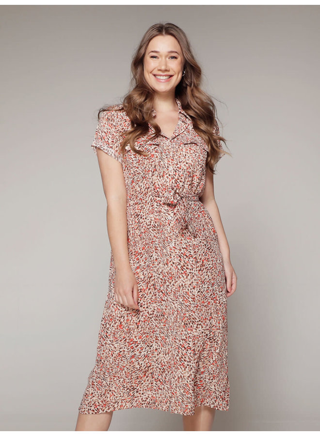 Rebelz jurk Lydia Print Beige/Rood