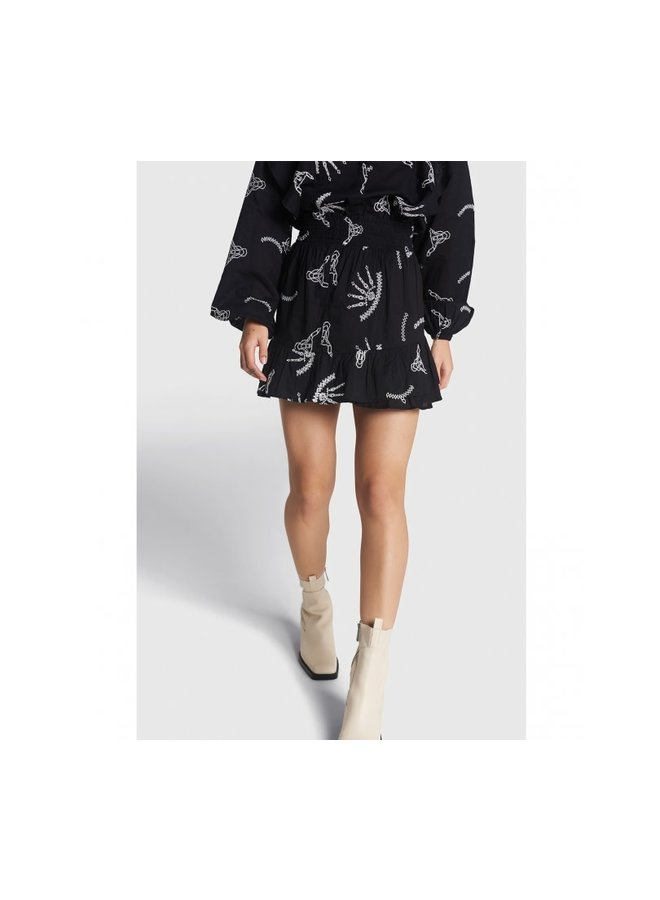 ALIX The Label rok Woven Coloured Broderie - Black