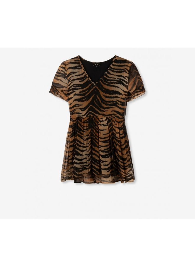 ALIX The Label jurk Woven Tiger Crinkle Chiffon - Animal