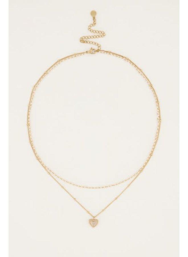 My Jewellery ketting dubbel Hart Beige/Goud