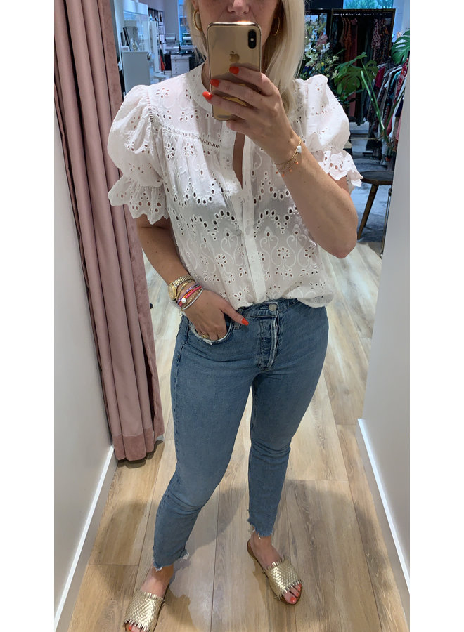 Azzurro blouse  Broderie 9318 Wit