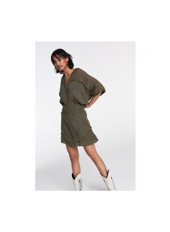 ALIX the Label blouse Stripe Lurex Crinkle - Dark Olive