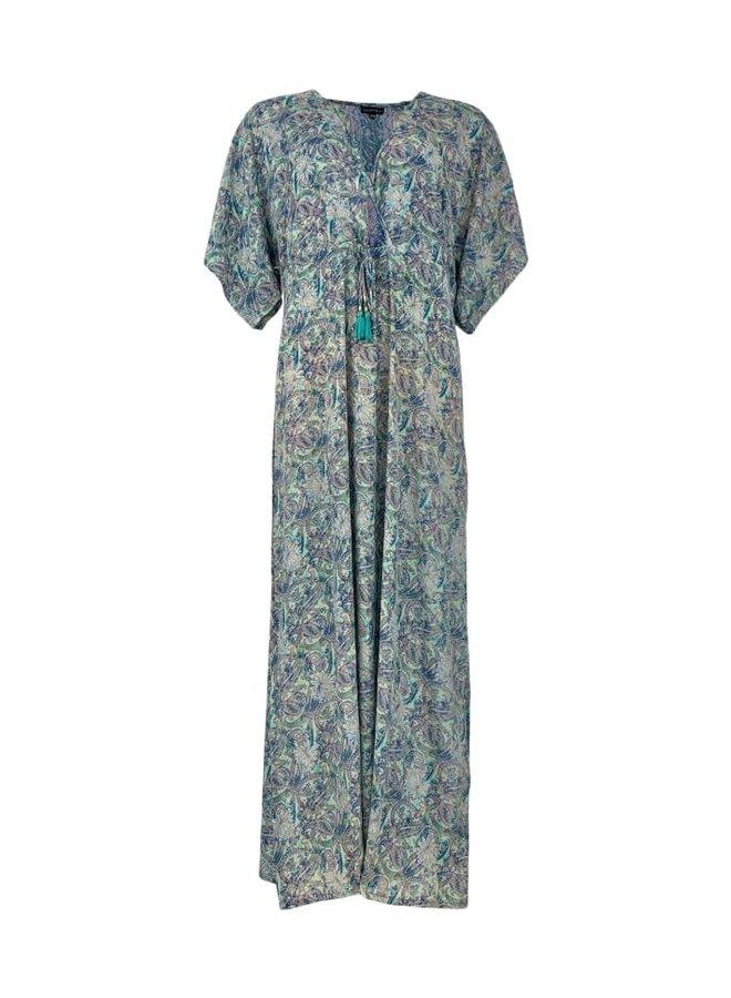 Black Colour jurk Luna Long V-Neck Pastel Mint