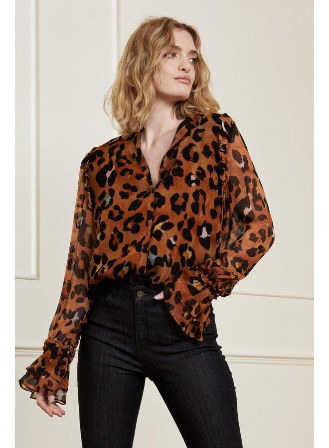 Fabienne Chapot blouse Carmen Leopatra Cognac/Black