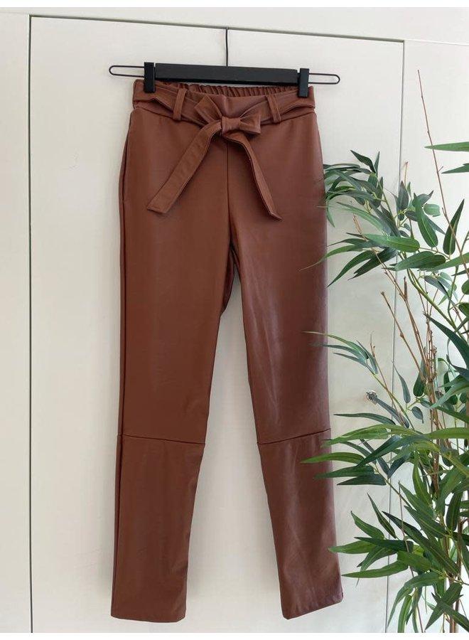 Broek PU Leather Cognac/Bruin