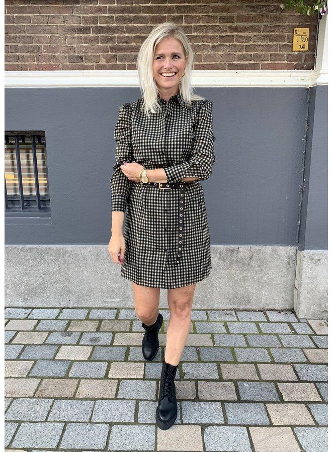 Ydence jurk Paola Khaki Check