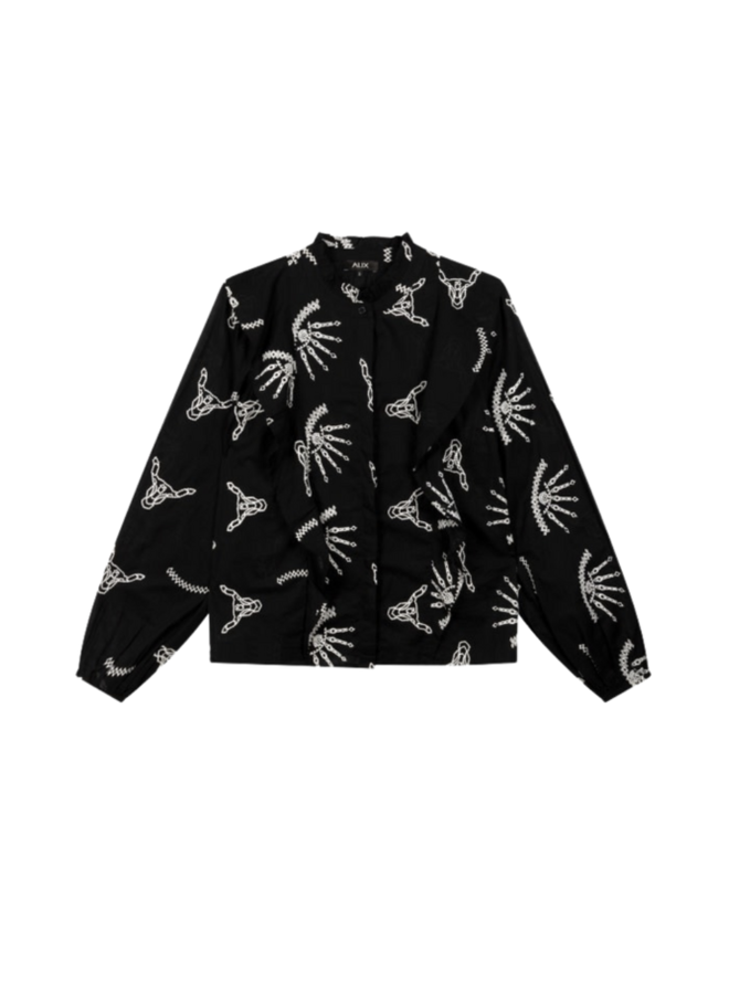 ALIX The Label blouse Woven Coloured Broderie - Black