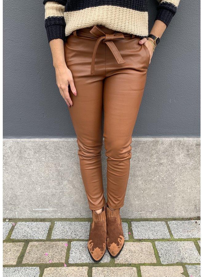 Broek PU Leather Cognac