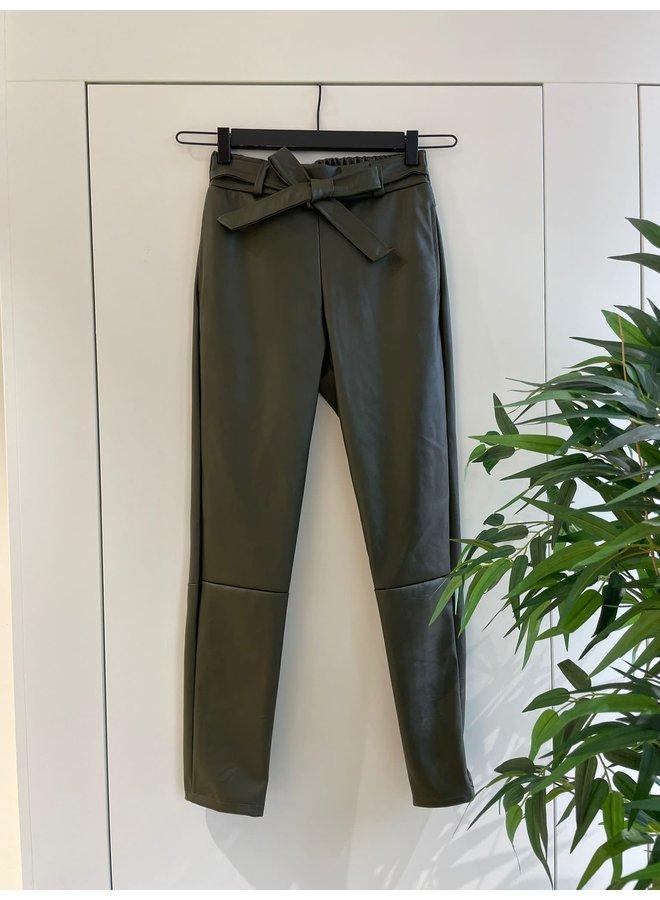 Broek PU Leather Donkergroen