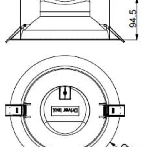 Tronix Downlight Inbouwspot Eco | 4000K | Inbouw maat 205mm | 25W | Dimbaar | 2 jaar garantie |