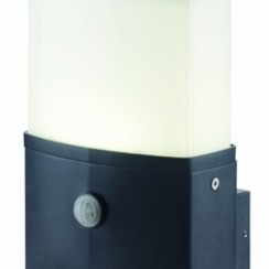 LED Wandlamp   Zwart   1x 10W   Sensor   Opal Cover
