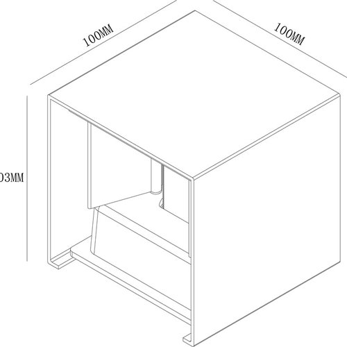 Tronix LED Wandlamp| Cube 10x10x10cm | Wit | Up & Down | 6W | Dimbaar | 2 jaar garantie