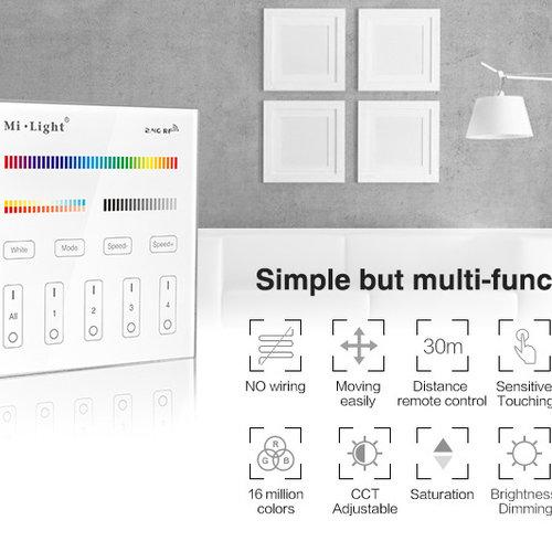 Mi-Light Smart Panel afstandsbediening 4-Zone RGB+CCT | 2 jaar garantie