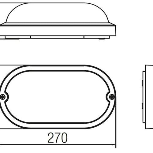 Tronix LED Wandlamp | Oval | 270x147mm | 3000K | Wit | IK10 |Sensor | 2 jaar garantie