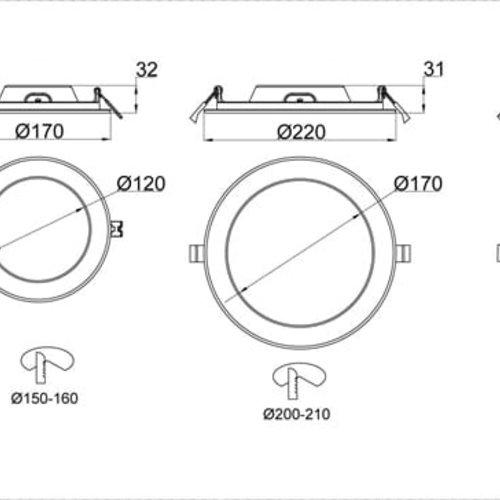Tronix LED Downlight Rond ECO | Witte kleur | 20 Watt | 3000K | Niet dimbaar | 2 Jaar Garantie
